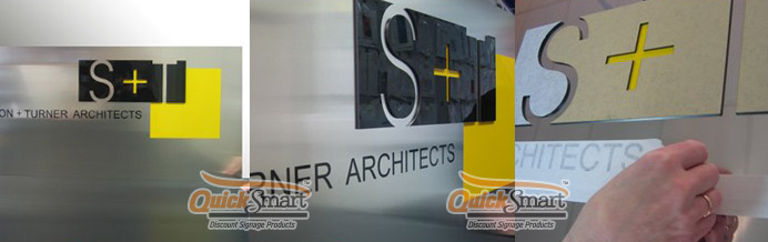 1200mm x 500mm Aluminium Panel with Laser Cut Acrylic Logo and Vinyl lettering applied to the face