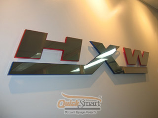 BA Stainless Steel and Acrylic Laser cut Logo Reception Sign