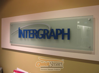 Laser Cut Acrylic lettering is coated to suit corporate colour scheme before being adhered to the glass panel.