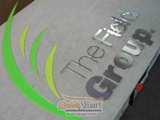 This Laser Cut Sign is made from Stainless Steel, Clear Acrylic and Vinyl. Stainless Steel is adhered to the face of clear Acrylic to create extra depth. Green Vinyl is applied to the rear of clear Acrylic to create the colours.