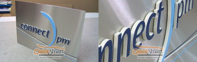 950mm x 400mm Laser Cut Acrylic on Stainless Steel panel sign